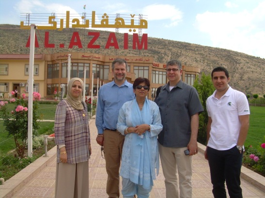 Welcome to us three by our hosts from the University of Dohuk at an upscale family dining restaurant. Al Azaim was typical of a spacious, relaxed space with personal hospitality of menus that consisted of endless mezzo and kebab, among other dishes.  Most such places did not serve alcohol and were filled with families. We were treated to wonderful meals by our hosts at such restaurants almost every day!