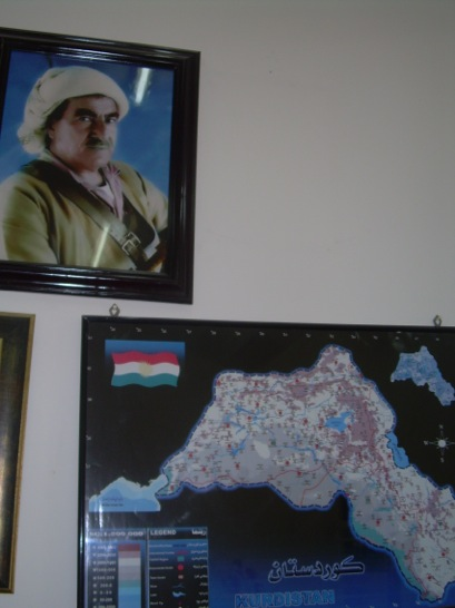 Finally, all over the university and city, Mustapha Barzani's image (above the ubiquitous Kurdish map) looks over his people (so to speak).