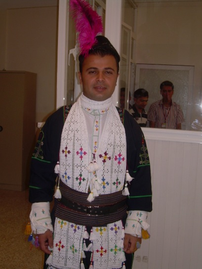 Also graduation day, a young man who was a Syriac Christian described this as his ethnic garb.