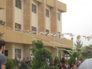 Department of English Languages and Literature decorated with Kurdish flags for the annual graduation day. Students often wear native costumes.