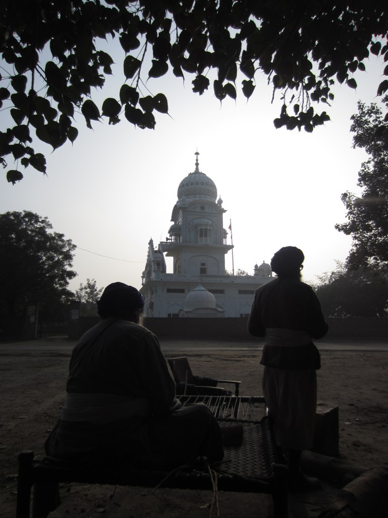 The shrine of Baba Bidhi Chand Chhina with caretaker Nihangs in the foreground.