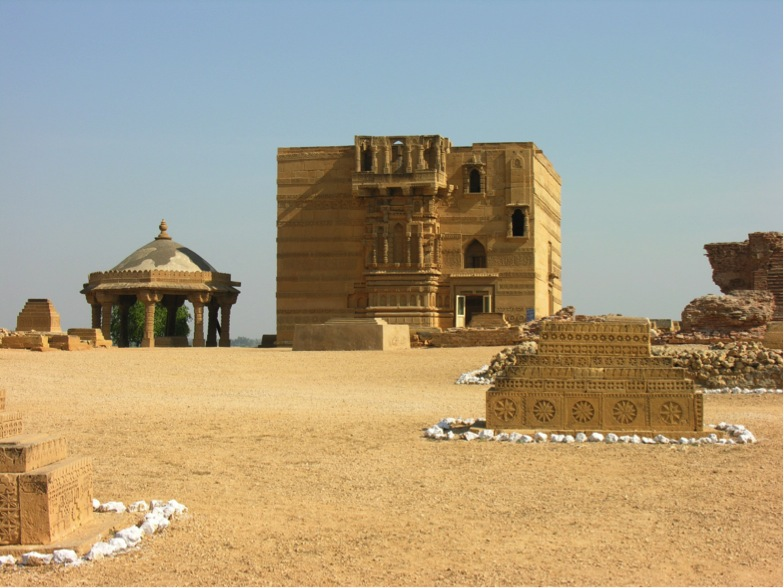 Part of Thatta's necropolis: Nizam al-Din's Tomb with polygon pavilion (Photo Copyright UNESCO)